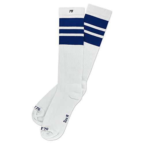 Spirit of 76 The blue Blues   Retro Socken Weiß, Blau gestreift   kniehoch   Unisex Strümpfe Size L (43-46)
