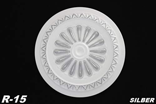 1 rozet | plafond | binnendecoratie | stuck | EPS | decor | 34 cm | R-15 zilver