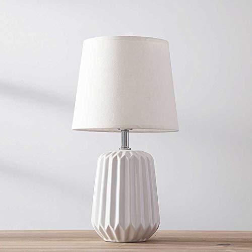 Nordic Tela de cerámica Iluminación LED Lámpara de mesa Moda Dormitorio creativo Sala de estar Mesita de noche, Azul/Verde/Rosa/Blanco (Color : White-Push button switch)