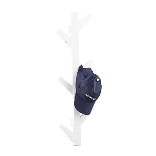Relaxdays Wandgarderobe aus Bambus, 6 Haken, Garderobe, Kleiderhaken für Bad und Flur, HxBxT: 78 x 22 x 7 cm, weiß