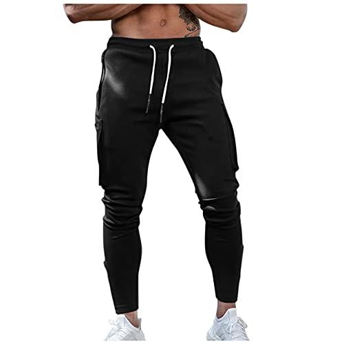 WXZZ Pantalones de chándal para hombre, pantalones chinos con cordón, bolsillos, pantalones de deporte, pantalones de ocio, pantalones cargo para el aire libre, pantalones de entrenamiento, Negro , L