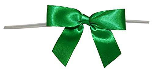 Reliant Ribbon 5171-51003-2X1 Satin Twist Tie Bows - Small Bows, 5/8 Inch X 100 Pieces, Emerald Green
