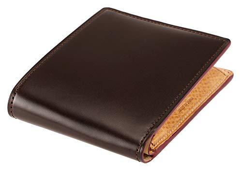 【キプリス】二つ折り財布(小銭入れ付き札入)■オイルシェルコードバン&ヴァケッタレザー 5462 チョコ