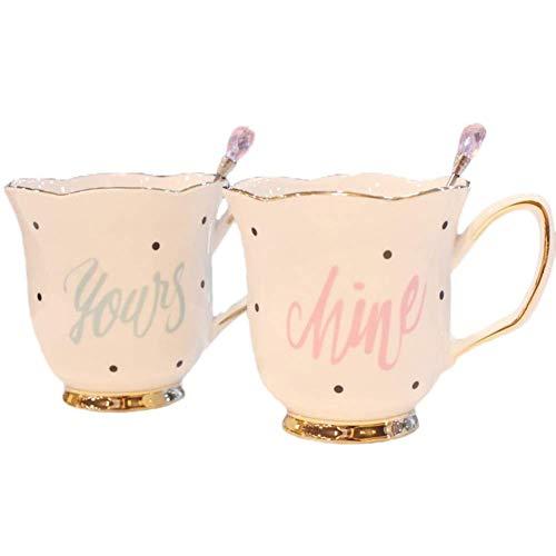 Personalizado Regalos de San Valentín La taza de café, Taza de café Set, Set Taza, creativo Europea de la Flor-Forma de café, 260 ml Flor-té tazas de cerámica Set leche del desayuno de café con la cuc
