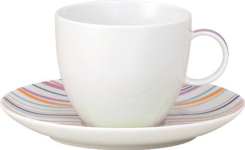 Thomas Sunny Day Tasse à Café avec Soucoupe, Porcelaine, Sunny Stripes / Rayures Multicolores, Passe au Lave-Vaisselle, 20 cl, 2 Pièces, 14740