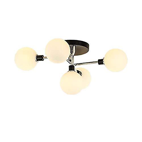 Accesorio de iluminación de techo moderno G9 Hierro Accesorio de iluminación colgante industrial 5 luces Lámpara de techo para cocina Isla Dormitorio Pasillo Bar Sala de estar-Plata Blanco l