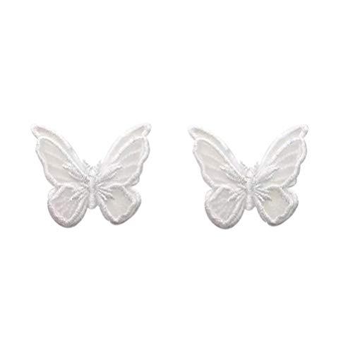 Desconocido Genérico 1 par de Mariposas Oreja Perno Blanco Hada Mariposa Mujer Pendientes Joyería Regalo