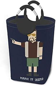 Laundry Basket,Big Lebowski - Bolsa para Cesto De Lavandería Walter De 8 bits, Contenedores De Almacenamiento Grandes Y Livianos con Asas para Almacenamiento De Ropa,57.5 * 32 * 28cm