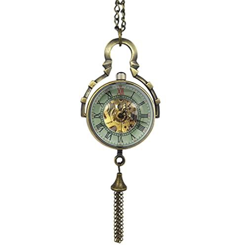 UKCOCO Reloj de Bolsillo Clásico con Campana de Cadena de Carácter Romano Reloj de Bolsillo de Bola de Cristal Vintage Reloj de Bolsillo de Cuarzo Colgante Collar Joyería Regalos de