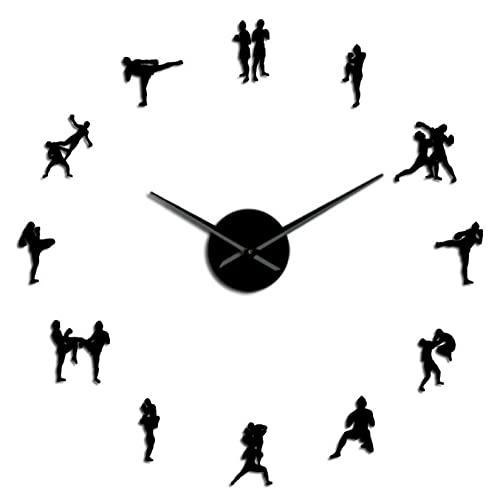 LWXJK Caja Tradicional tailandesa de Lucha DIY Pegatina Reloj Grande decoración del hogar Muay Thai Kick Fight Reloj Gigante sin Marco Reloj Grande de combate-27inch
