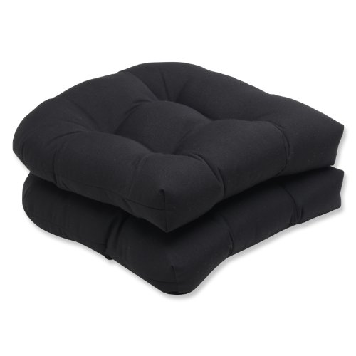 "Pillow Perfect Outdoor/Indoor Sunbrella Canvas Tufted Seat Cushions (Round Back), 19"" x 19"", Black, 2 Pack"