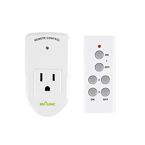 BN-LINK Wireless Remote Control Electrical Outlet Switch for Lights, Fans, Christmas Lights, Small Appliance, Long Range White 10A/1200W, 1 Remote + 1 Outlet