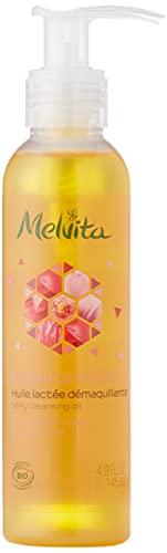 Melvita - Huile Démaquillante Nectar de Roses - Soin Démaquillant Lacté - Certifié Bio, 100% Naturel, Vegan - Fabriqué en France - Flacon Pompe 145 ml