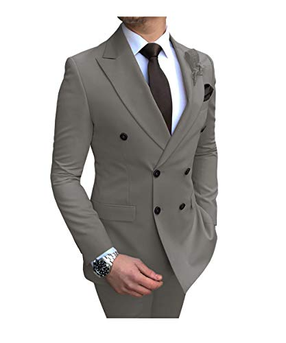 Mens Suits 2 Piece Classic Double Breasted Jacket Peak Lapel (Grey,38US)