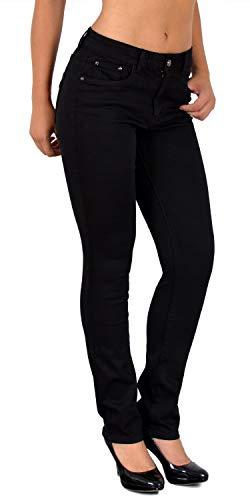 ESRA Damen Straight Fit Hose Hochbund Stoffhose gerader Schnitt High Waist Hose bis Übergröße J510