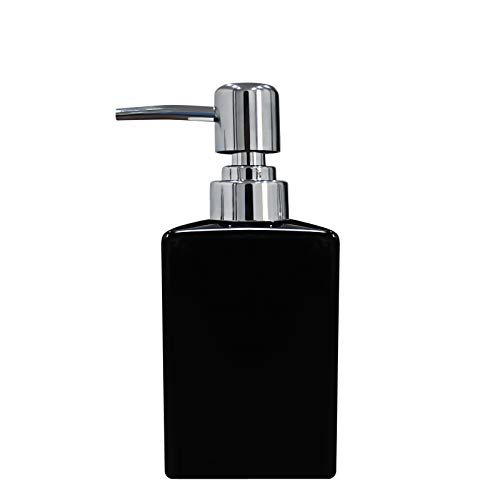 Dispensador de jabón cuadrado de cerámica XunHe 320 ml, dispensador clásico de jabón y loción para cocina/baño (negro)