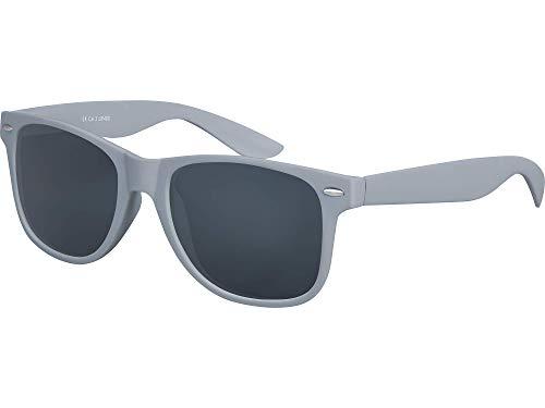 Balinco Original UV400 CAT 3 CE Vintage Unisex Retro Sonnenbrille - verschiedene Farben in Einzel - Doppelpack & Dreierpack wählbar (Einzelpack - Rahmen: Grau Matt, Gläser: Schwarz)