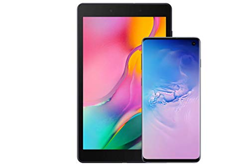 Samsung Galaxy S10Factory Unlocked Android Cell Phone, US Version, 128GBof Storage, Prism Blue with Tab A 8.0' 32 GB WiFi Android 9.0 Pie Tablet Black (2019)