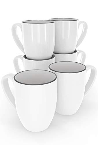 Kaffeetassen Set 6-tlg. - Moderne weiße Kaffeebecher im Skandinavischen Design - Spülmaschinenfestes Keramikgeschirr - Stilvolle Ergänzung zum Kaffeeservice - 6x Tasse weiß von Pure Living