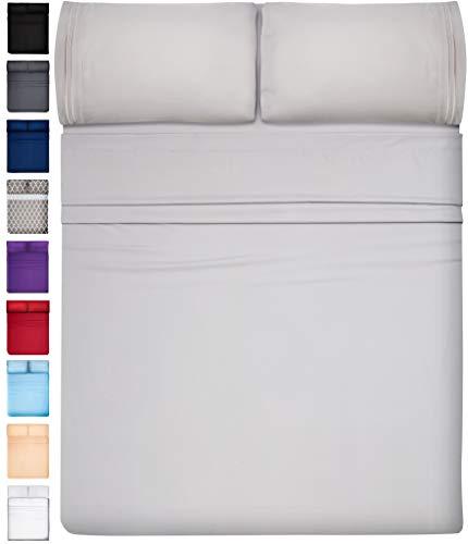 Extra Deep Pocket Sheets Set Microfiber Sheet Set Bed Sheet Sets Microfiber Sheets Microfiber Bed Sheets - Cooling Sheets Cooling Bed Sheets Extra Deep Sheets Super Soft Sheets King Size, Light Gray