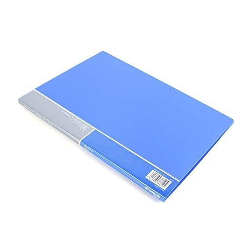 WFS Agenda A4 - Carpeta de información para archivos, de papel, con clip para estudiantes, de varias capas, transparente, tamaño A4, para suministros de oficina, tamaño 10, color azul
