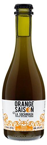 Birra artigianale di qualità La Socarrada Orange Saison, bottiglia da 33 cl, prodotta con succo d'arancia fresco, unica e straordinaria.