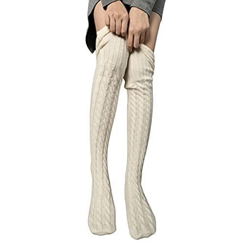Axiamoncha - Cable de punto bajo para mujer, diseño de rayas, beige, Talla única