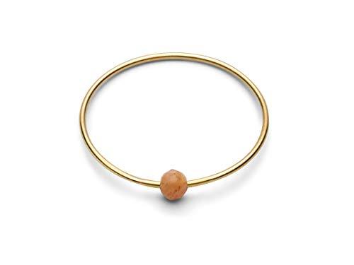 JUKSEREI Damenring Gold Birthstone-Ring Juni Mondstein Aprikot - Geburtsring/Geburtstagsring Moonstone Peach Gleichgewicht Beruhigend - RBSCHJUNg-54