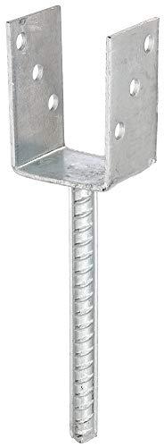 GAH-Alberts 214234 U-Pfostenträger | mit Betonanker aus Riffelstahl | feuerverzinkt | lichte Breite 71 mm | Länge Betonanker 200 mm