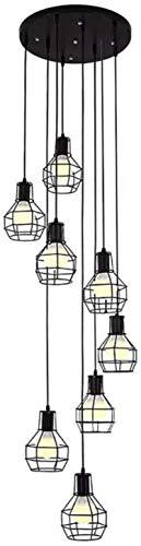 E27 Vintage Colgante Lámpara Pedant Ajustable Iluminación Cause Lámpara Colgante de Lámpara Colgante 6 Light Light Chandelier para el piso de la cocina Negro D 6 Luces