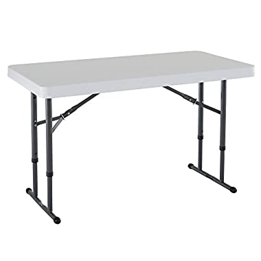 Lifetime 80160 Commercial Height Adjustable Folding Utility Table, 4 Feet, White Granite