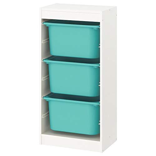 Trofast IKEA Regal, Aufbewahrung mit Boxen 46x30x94 cm Set NEU (Regal weiß/Boxen türkis)