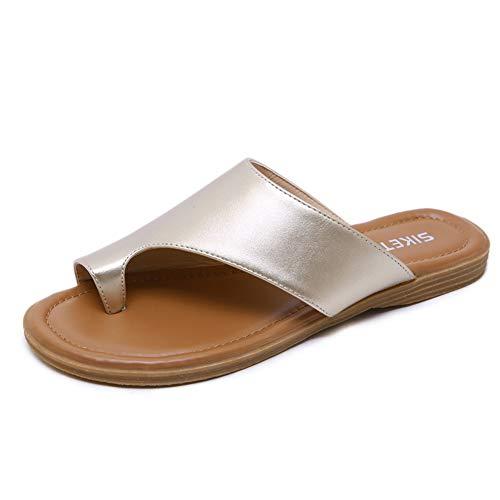 Mltdh Big Toe Foot Correction Sandale mit orthopädischer Ballenzeh-Korrektur Bequeme Plattform, Flache Sohle für Frauen PU-Material/TPR-Sohle,C,41