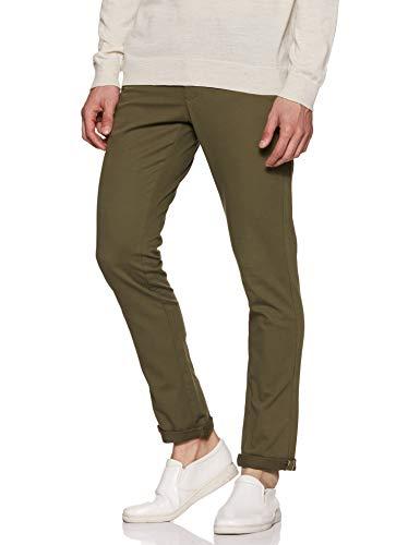 Indian Terrain Men's Slim Fit Casual Trousers (ITMTR00399_Green_32)
