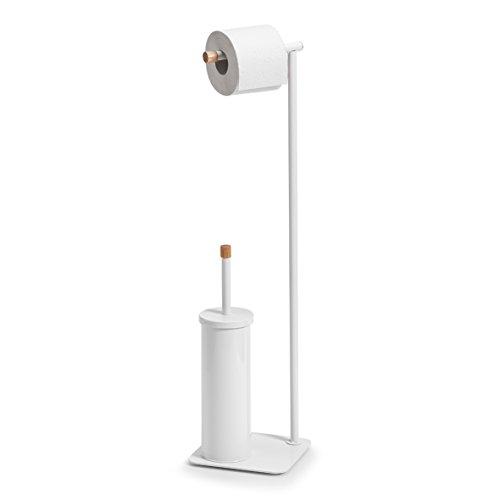 Zeller Scopino per WC, in Metallo/Gomma Albero, Bianco