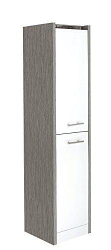 Schildmeyer Hochschrank 700999 Trient, 38 x 35 x 157,5 cm, weiß glanz / esche grau Dekor