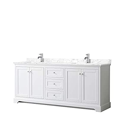 Avery 80 Inch Double Bathroom Vanity in White, Dark-Vein Carrara Cultured Marble Countertop, Undermount Square Sinks, No Mirror