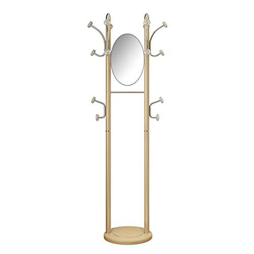 Jsmhh Perchero de pie con Espejo, Dorado, Metal Perchero y Gancho multifunción Moderno, Espejo de Vestir móvil, for Puerta de Entrada a la habitación