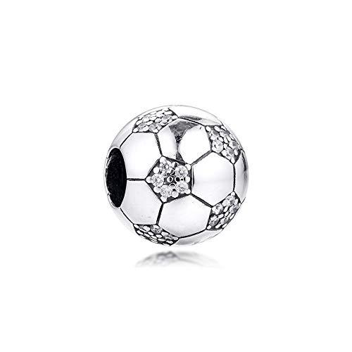 WUXEGHK Passend Für Pandora Armband Sparkling Football Charm Für Schmuckherstellung Silber 925 Original Perle