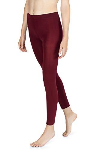 sockenkauf24 Damen THERMO Leggings mit Innenfleece in 10 Farben extra warm Winter Leggings (44/46, Bordeaux Rot)