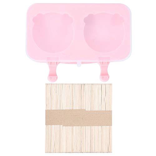 Dekaim Eiscremeform, 2-Grids Silikon-DIY-Eiscremehersteller mit Deckel und Sticks für den Hausgebrauch(2Pcs Pig Head)