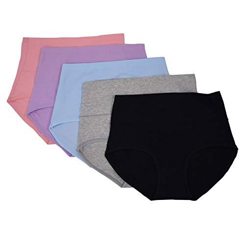 Lictech Damen Baumwoll-Unterwäsche, hohe Taille, einfarbig, volle Abdeckung, bequem, atmungsaktiv, Hipster - - Groß