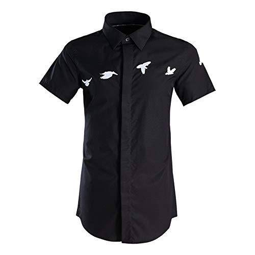 Photo of LIUXING-TUMI Mens Summer Short Sleeve Shirts Casual Business Working Button Down Dress Shirt Teenager Boys Plain Cotton Shirt Formal Party Shirts Size M L XL XXL 3XL (Color : Black, Size : M)