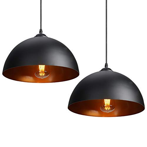 CCLIFE 2 Unidades Lámpara de techo Vintage Lámpara colgante Lámpara vintage industrial Lámpara Colgante Retro de Metal Casquillo E27,Ø300mm, Color:Negro