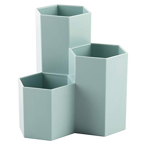 AhfuLife Pot créatif hexagonal multifonction pour ranger pinceaux de maquillage, pinceaux, stylos, papeterie - décoration de bureau - rose bleu lac