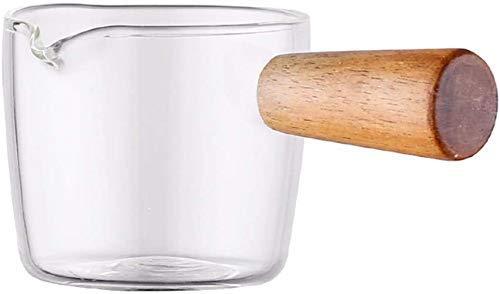 Pot de lait avec poignée en bois, en verre résistant à la chaleur Pan, Petite Casserole, salade de fruits transparent Bol Plats Dip (50 ml), 600ml 8bayfa (Size : 500ml)