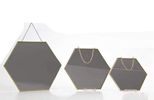 GICOS IMPORT EXPORT SRL Set 3 specchi esagonali Cornice in Metallo Colore Oro con Catenella d20/22/30 cm CLA-756184