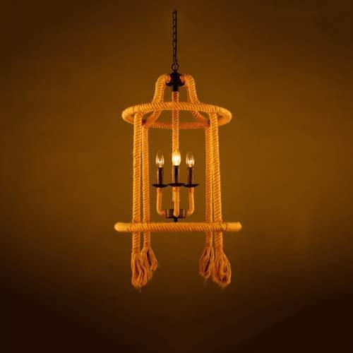 Candelabro de Cuerda de cáñamo Retro Arte Creativo Droplight Personalidad Candelabro Simple Arte de Hierro Ratán Lámpara Colgante de Jaula de pájaros Luces de Sala de Estar Restaurante Bar Mostrador