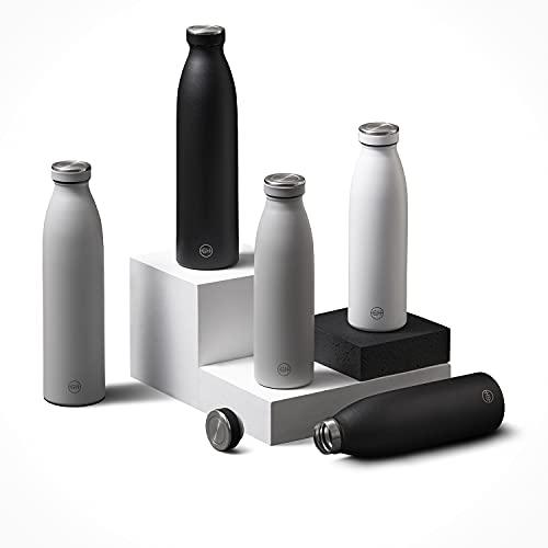 GH Botella de Agua acero Inoxidable 500ml Tinta Negra | Frasco de Agua de Metal Reutilizable | Botella Termica Doble pared al vacío | Botella de bebida reutilizable Sin BPA, Antigoteo y Fugas