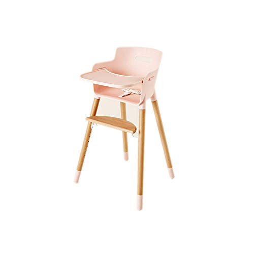 YLCJ hoge stoelen voor eettafelstoelen voor baby, van massief hout, verstelbare zitting, multifunctioneel, met rugleuning (kleur: wit, maat: groot) Large Roze